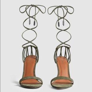 Suede Strappy Wrap Sandals